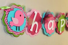 Birdie Name or It's A Girl Banner Pink Green and by PaisleyGreer, $20.00