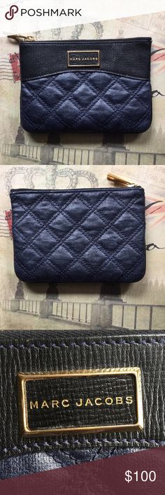 """✨PRICE DROP✨ Marc Jacobs Leather Quilted Pouch Rare Authentic Marc Jacobs Baroque Single Navy Pouch. Double stitched quilted lambskin leather with gold tone hardware and zip top. Logo plate on front, stitched inside and on zipper. Convenient as a makeup holder, wallet, or overall catch-all in your purse.  7""""L x 5""""H x .5""""W.  ⭐️ Bundle & Save, Posh Rules Only ⭐️ All Offers Accepted or Countered Marc Jacobs Bags"""