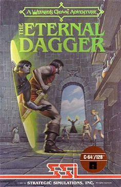 The Eternal Dagger Commodore 64 Front Cover First Video Game, World Of Fantasy, Covered Boxes, Games To Play, Cover Art, Adventure, Movie Posters, Gaming, Crown
