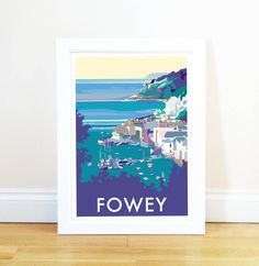 fowey vintage style seaside poster by becky bettesworth | notonthehighstreet.com
