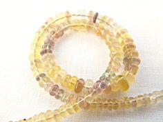 Rainbow Fluorite, Fluorite Rondelles, 9 Inch Strand, Fluorite Beads, Jewelry Making Gemstones, UK Seller, Quality Fluorite Smooth Rondelles