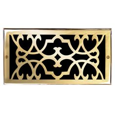 "This polished brass finish solid brass air return vent cover with a victorian scroll design fits 6"" x 12"" duct openings and adds the perfect accent to your home decor."