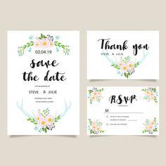 Beautiful wedding card template Free Vector