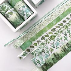 Green Plants Washi Tape Material: Washi Box size: 3*8*8cm Weight: about 56g Package: 8rolls Length: 3meters (118.11inches) Width: 0.5cm(0.19inches) - 2rolls, 1.5cm(0.59inches) - 4rolls, 3cm(1.18inches) - 2rolls ♥ Because of the light and angle of the photograph, the color of the picture and the Scrapbook Stickers, Diy Scrapbook, Scrapbooking, Washi Tape Set, Masking Tape, Duct Tape, Diy Washi Tape Crafts, Bullet Journal Washi Tape, Bullet Journals