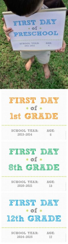 FREE 1st Day of School Signs...I can't even fathom Robbie going off to preschool :(
