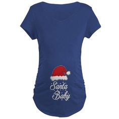 Santa Baby Maternity T-Shirt (pregnancy, pregnant, mom to be, mother to be, clothing, new baby, cute, attitude)