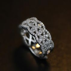 Breathtaking Bling Bling Vintage Art Deco Cubic Zirconia and Silver Wide Wedding Band [100670] - $74.00 : jewelsin.com