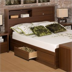 Prepac Series 9 Designer Bed in Medium Brown Walnut - Full - Furniture & Mattresses - Bedroom Furniture - Beds