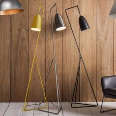 Striking collection of Contemporary Floor Lamps. Yellow, chrome and black. Modern Rainbow Vallen Floor Lamp that's funky and practical. Free Delivery!