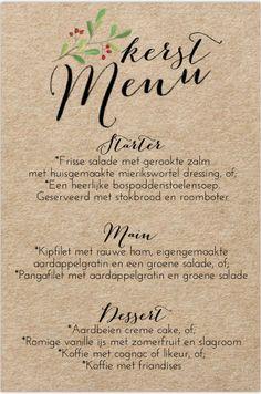 Uniek kerst menukaart met kraftlook en watercolour takjes. Gratis verzending in Nederland en België.