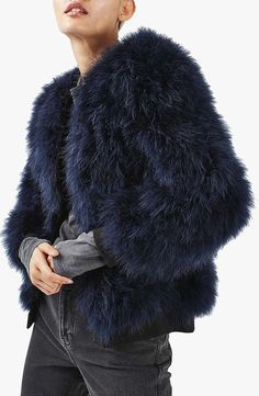 This Navy Feather Coat Is Way Too Cool