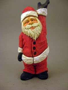 Wood Carved Santa Waving by CarvingsbyTony on Etsy,