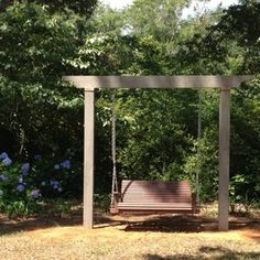 Backyard Swing Ideas here is a classic bench seat swing with a finely crafted wood design chains are Outdoor Children Swings Traditional Outdoor Swingsets Design Ideas Pictures Remodel And