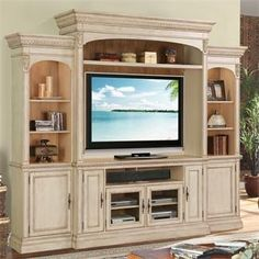 Venecia Entertainment Wall Unit by Riverside Furniture 23 in deep Home Entertainment Furniture, Living Room Entertainment Center, Home Entertainment Centers, Living Room Built Ins, Home Living Room, Parks Furniture, Home Furniture, Riverside Furniture, Great Rooms