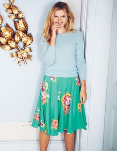 I'd wear this pretty floral skirt from @BodenClothing for Spring 2014 with so many things... pumps, flats, sandals, flip flops, even sneakers. Looks elegantly comfortable.