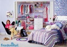 teen room with organized closet