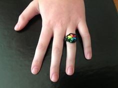 #rainbow #loom  #ring.  Starburst pattern ring.