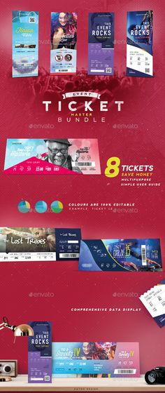 Event Tickets Template XV Ticket template, Event ticket and Graphics - event tickets template