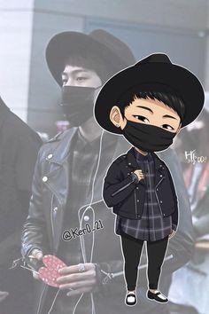 Kpop Drawings, Cute Drawings, Ikon Wallpaper, Double B, Hanbin, Kpop Fanart, Yg Entertainment, Chibi, Minnie Mouse