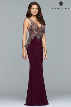 3af375bf5bc9 Check out the deal on Faviana Glamour S10002 Sheer Beaded Prom Gown at French  Novelty Fitted