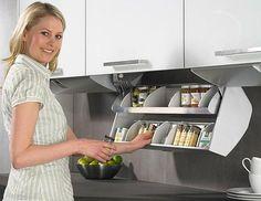 37 Best Kitchen Appliance Storage Rack Design Ideas For You - Küchengeräte Kitchen Appliance Storage, Kitchen Cabinet Storage, Modern Kitchen Cabinets, Kitchen Shelves, Diy Kitchen, Kitchen Furniture, Cupboard Drawers, Clever Kitchen Storage, Kitchen Appliances