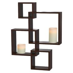 Threshold� Interlocking Display Shelf with 2 LED Candles - In white