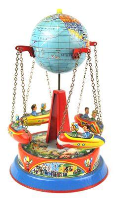vintage tin toys | Antique Tin Carousel Toy West German MINT Thumbnail Image