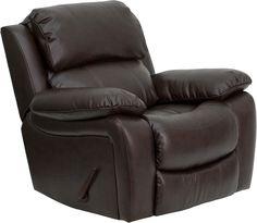 Brown Leather Rocker Recliner [MEN-DA3439-91-BRN-GG]