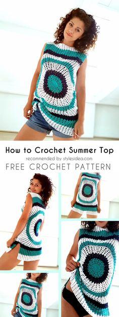 Top Summer Tops Crochet Free Pattern #crochet #top #pattern #cover-up #summer #freepattern