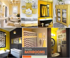 Yellow is strong, energetic and attention-grabbing, but it needs to be used with great care. Here are some style tips to use when creating yellow bathrooms… Simply Bathrooms, Yellow Bathrooms, Dream Bathrooms, Bathroom Plumbing, Bathroom Colors, Happy Colors, Colours, Furniture, Strong
