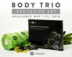 May special with It Works, That Crazy Wrap Thing. Look for the Body Trio.  It's $59.  I know, I know..... That's how much the wraps are for Loyal Customers already.  This special ends on May 31st.  With the Body Trio, you will be getting a box of Wraps, the Fab Wrap and the Mini Defining Gel.  That means you are getting the Mini Defining Gel and the Fab Wrap for FREE!!!!