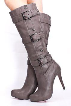 15.99 - grey heeled boots