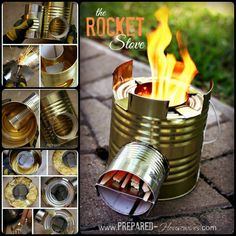 DIY Rocket Stove to Cook Food or Heat Small Spaces - diy food Survival Food, Camping Survival, Survival Prepping, Survival Skills, Emergency Preparedness, Diy Rocket Stove, Rocket Stoves, Garage Storage Solutions, Diy Garage Storage