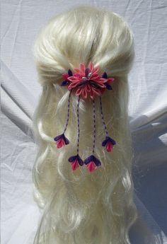 Salmon, Fuchsia & Purple Kanzashi Flower Hair Clip