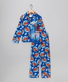 Take a look at this Blue 'Steel' Superman Button-Up Pajama Set - Boys on zulily today!