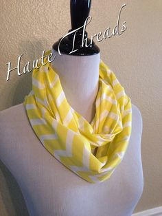 Gorgeous Bright Neon Yellow and White Infinity Scarf by hautethreadsboutique, $13.50