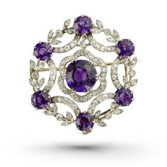 An amethyst and diamond circular brooch ($8,215) ❤ liked on Polyvore featuring jewelry, brooches, circle jewelry, amethyst jewellery, diamond jewelry, amethyst jewelry and amethyst brooch