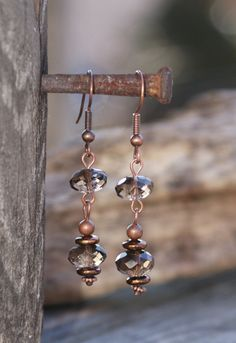 Smokey Quartz Earrings  Antique Copper  Earthy Glam by YaYJewelry, $18.00