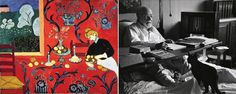 Henri Matisse pintor francés, dibujando en la cama con sus gatos Minouche y Coussi.