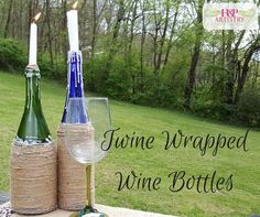 Upcycle twine wrapped wine bottle centerpieces