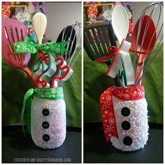 """These gorgeous snowman mason jars were made by Rosemary Cruz! She was so sweet to let me share with you guys! Rosemary said """"I sprayed the mason jar with glue adhesive. Then sprinkled glitter and let dry. Glued buttons and tied ribbon around too of jar. Then placed utensils in jar."""" This is such …"""