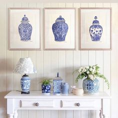 """Michelle Grayson on Instagram: """"I've always loved these three Ming jars together. This photo was taken at our old house. . . . . . . . . . #sproutgallery #ilovethishome…"""" White Art, Blue And White, Chanel Art, White Prints, Chinoiserie, Original Paintings, The Originals, Brisbane, Grammar"""