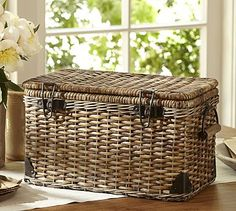"Daytrip Lidded Large Basket #potterybarn; 19.75"" wide x 10.75"" deep x 10.5"" high; $79"