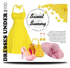 """Sweet and Sunny"" by quicherz on Polyvore featuring Maison Margiela, Kate Spade, Chanel, J.W. Anderson, Privé, sundress, yellowdress, under100, pokadots and yellowandpink"