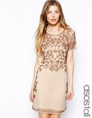 ASOS TALL Baroque Embellished Shift Dress