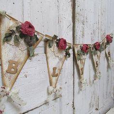 Handmade Bliss garland bunting shabby cottage chic roses w/ gold lettering Christmas or winter wedding banner decor anita spero design Shabby Chic Bunting, Shabby Chic Crafts, Vintage Crafts, Fabric Garland, Fabric Bunting, Bunting Garland, Bunting Pattern, Burlap Crafts, Arte Floral