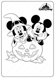 Disney Halloween Coloring Pages, Disney Coloring Sheets, Mickey Mouse Coloring Pages, Cartoon Coloring Pages, Mickey Mouse Halloween, Halloween Kids, Halloween Crafts, Cute Halloween Drawings, Halloween Printable