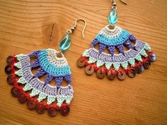 crochet earings multicolored by PashaBodrum on Etsy Crochet Design, Love Crochet, Bead Crochet, Crochet Crafts, Yarn Crafts, Crochet Flowers, Crochet Projects, Crochet Earrings Pattern, Crochet Jewelry Patterns