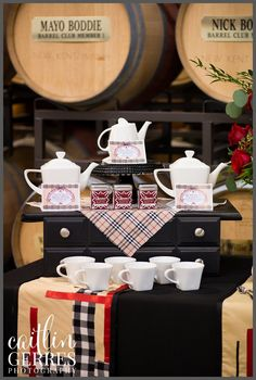 New Kent Winery: Burberry Stylized Shoot — Caitlin Gerres Photography. Tea station and dessert bar for the wedding reception.