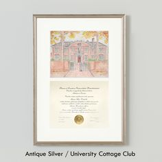 University Cottage Club Diploma Frame, Princeton University